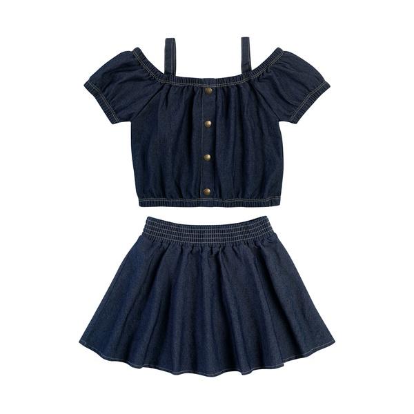 Conjunto Dila Infantil Feminino Jeans Ciganinha com Saia