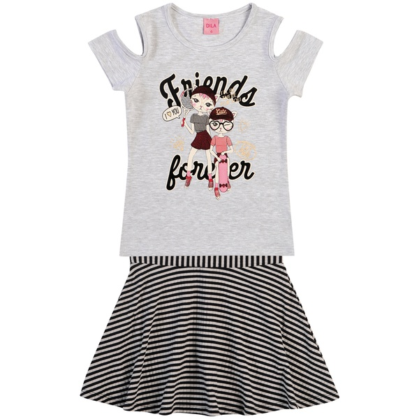 Conjunto Dila Infantil Feminino Blusa com Short Saia