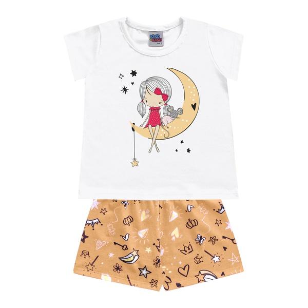 Pijama Kiko e Kika Bebê Feminina 1-2-3 - Branco com Laranja