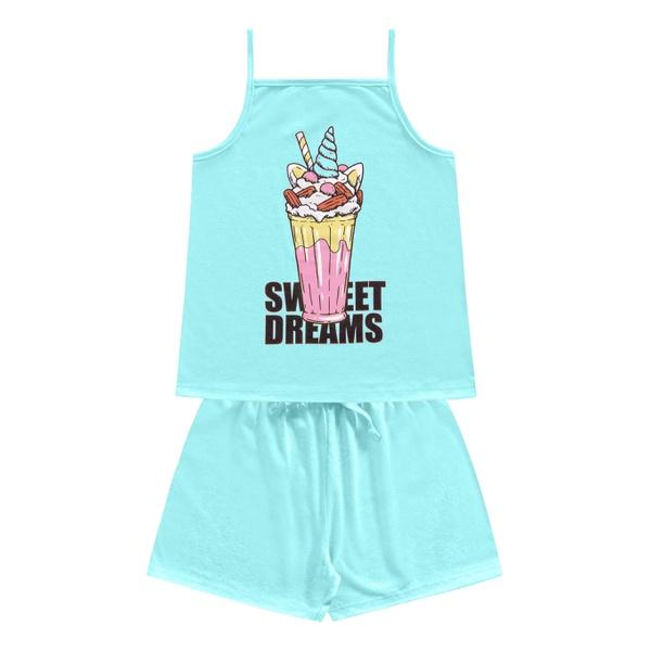 Pijama Kiko e Kika Infantil Feminino 4 ao 10 - Azul Claro
