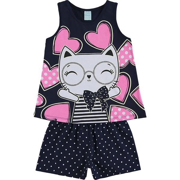 Pijama Kyly Infantil Feminino 4-6-8 Marinho com Neon