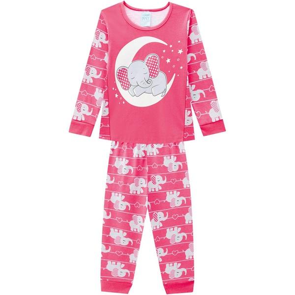 Pijama Manga Longa Kyly Infantil Feminino Elefantinho Tamanho 4-6-8