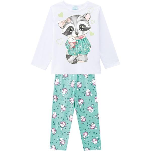 Pijama Manga Longa Kyly Infantil Feminino Tamanho 4 ao 8