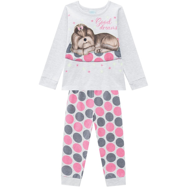 Pijama Manga Longa Kyly Bebê Feminino Cachorrinho Tamanho 1-2-3