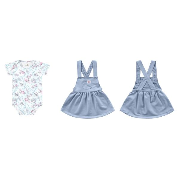 Salopete com Body Kiko Baby Bebê Feminina P-M-G Azul Claro