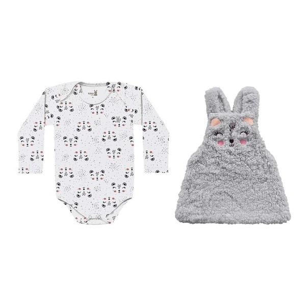 Salopete Pêlos Fluffy com Body Manga Longa Kiko Baby Bebê Feminina Tamanho P ao G