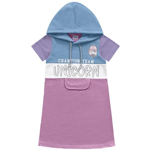 Vestido Fakini Infantil Feminino 4 ao 10 Rosa com Azul