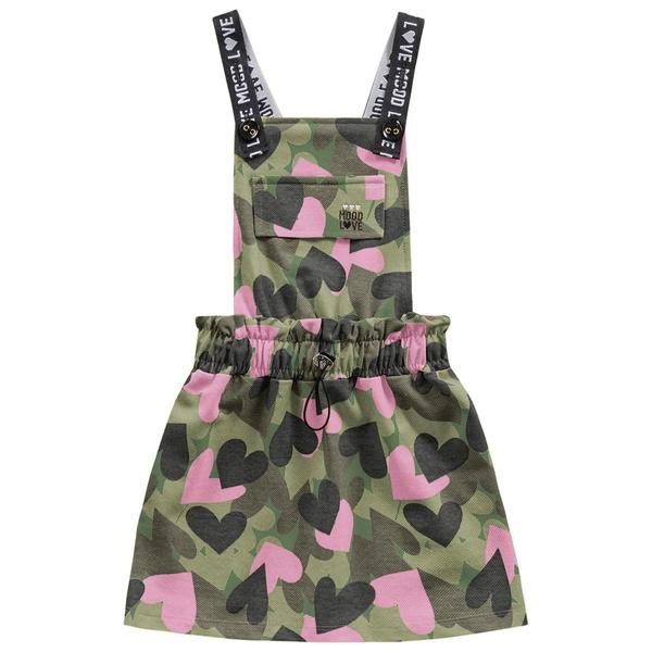 Salopete Fakini Bebê Feminina 4 ao 10 Verde Militar