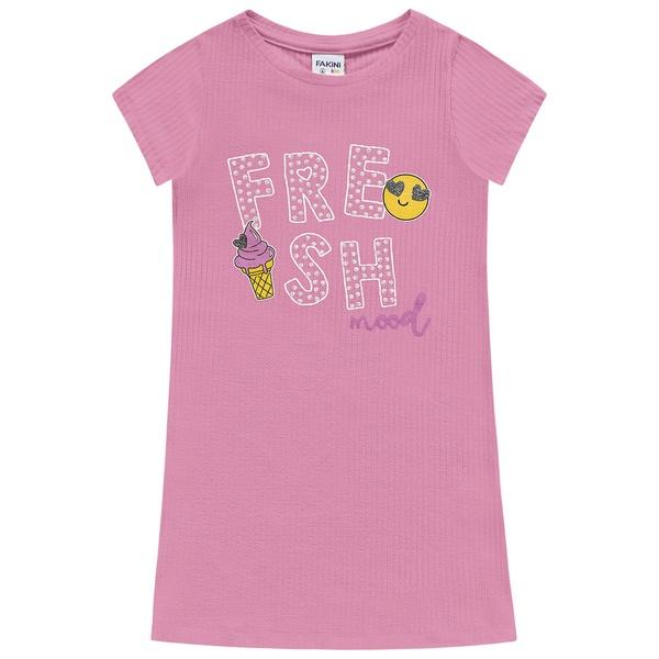 Vestido Fakini Infantil Feminino 4-6-8-10 Rosa Canelado