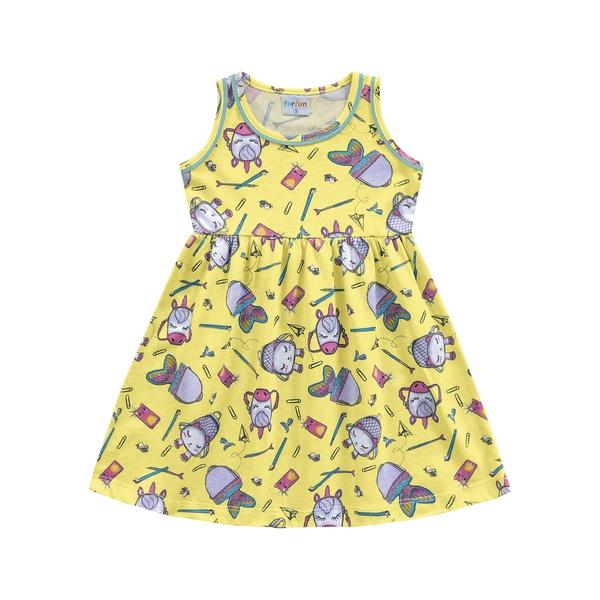 Vestido Fakini Bebê Feminino 1-2-3 Amarelo