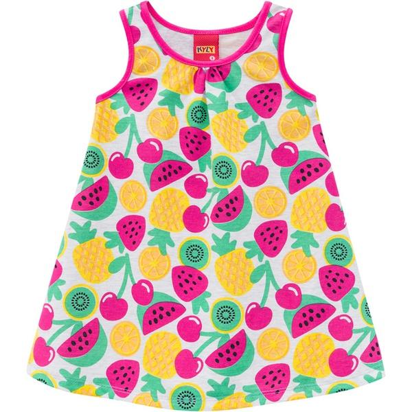 Vestido Kyly Bebê Feminino Cinza Estampa Frutas