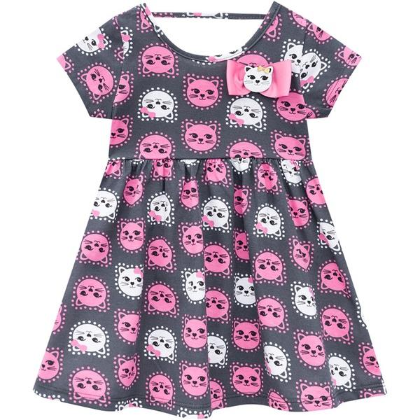 Vestido Kyly Bebê Feminino Estampa de Gatinhos Cinza