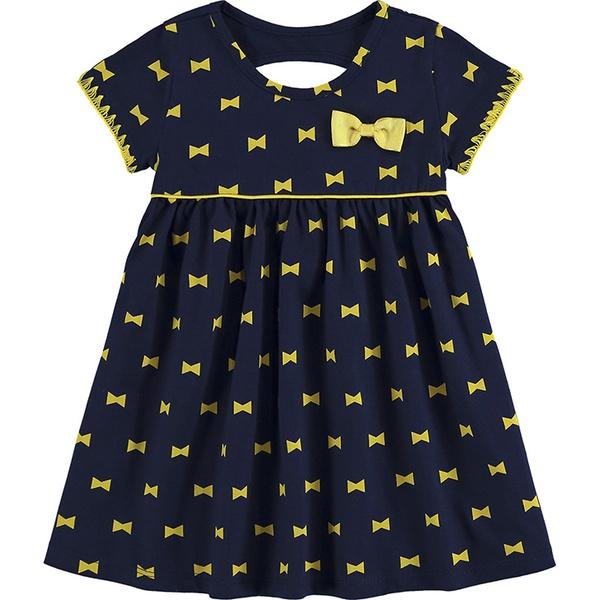 Vestido Kyly Bebê Feminino P-M-G Marinho com Amarelo Laços