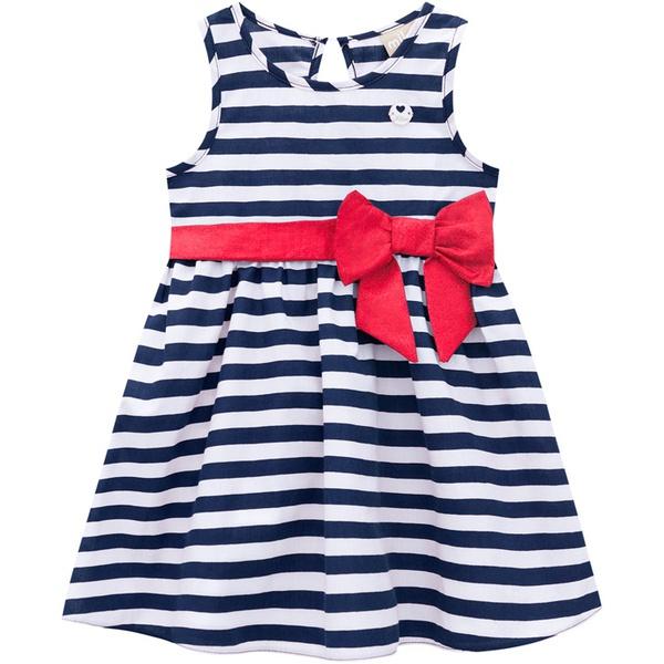 Vestido Milon Bebê Feminino Listrado Tamanho 1 ao 3