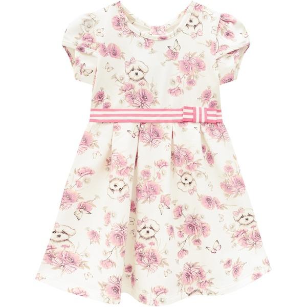 Vestido Milon Bebê Feminino Estampa Cachorrinho e Flores