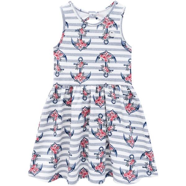 Vestido Milon Infantil Feminino Estampa Âncoras Tamanho 4 ao 12