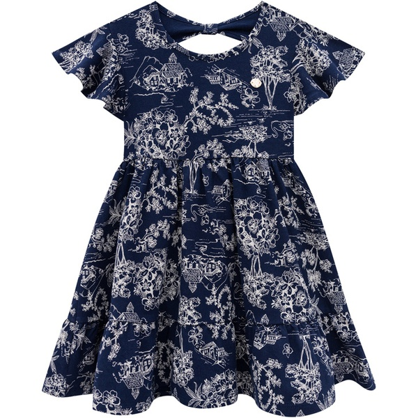 Vestido Milon Infantil Feminino Estampado Azul Marinho