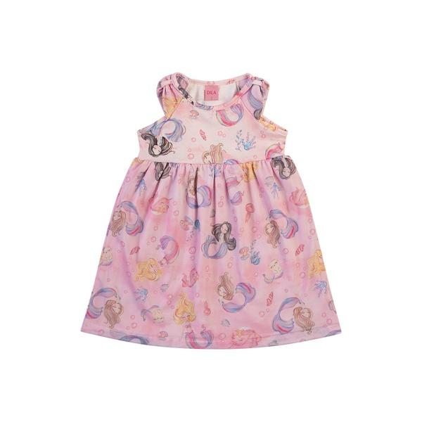 Vestido Dila Bebê Feminino Estampa Sereias Rosa