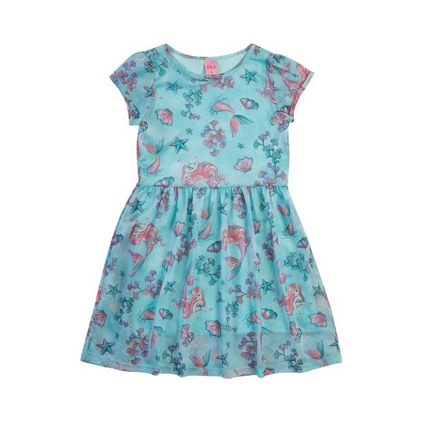 Vestido Dila Infantil Feminino Estampa Sereia