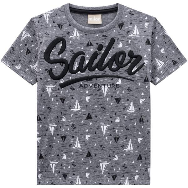 Camiseta Milon Infantil Masculina Bordada Cinza