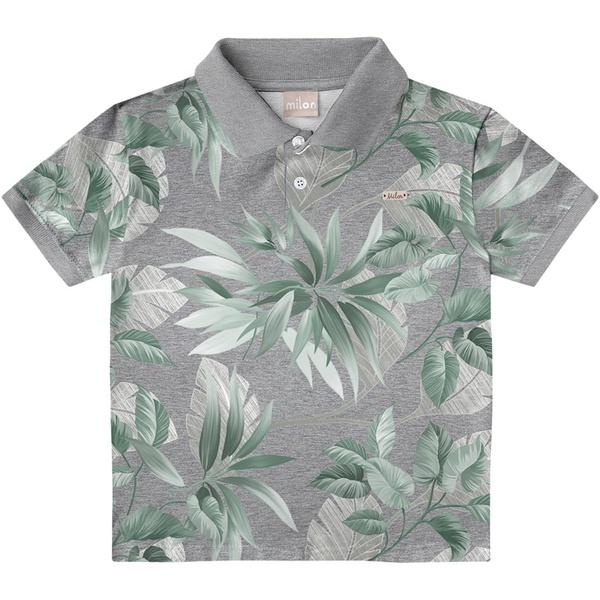 Camiseta Milon Gola Polo Infantil Estampada Cinza