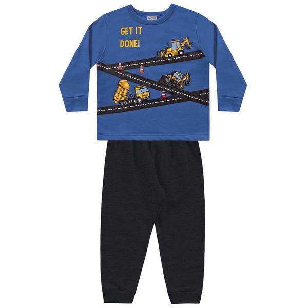 Conjunto Moletom Fakini Bebê Masculino Tamanho 1 ao 3 Azul