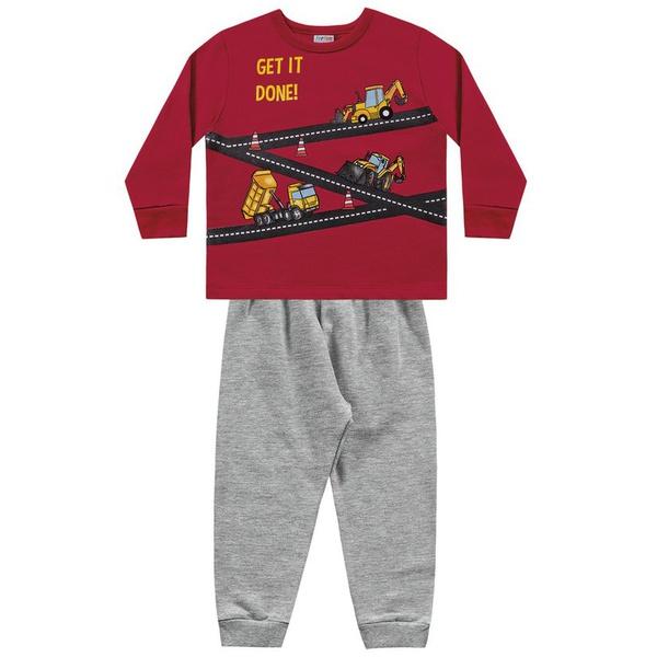 Conjunto Moletom Fakini Bebê Masculino Tamanho 1 ao 3 Vermelho