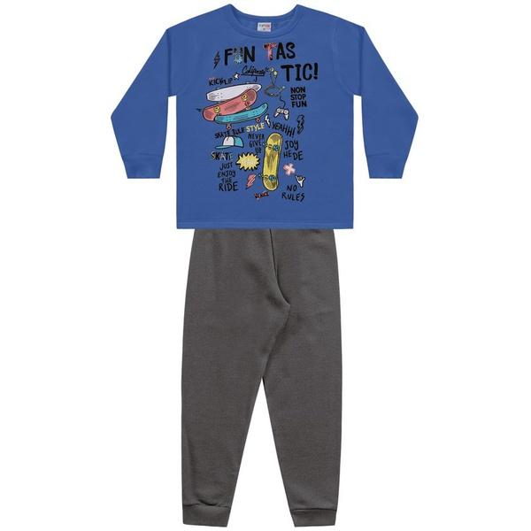 Conjunto Moletom Fakini Infantil Masculino Azul Tamanho 4 - 6 - 8