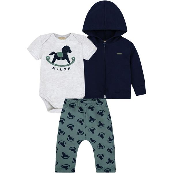 Conjunto Body com Blusa e Calça Moletom Milon Bebê Masculino Tamanho P-M-G
