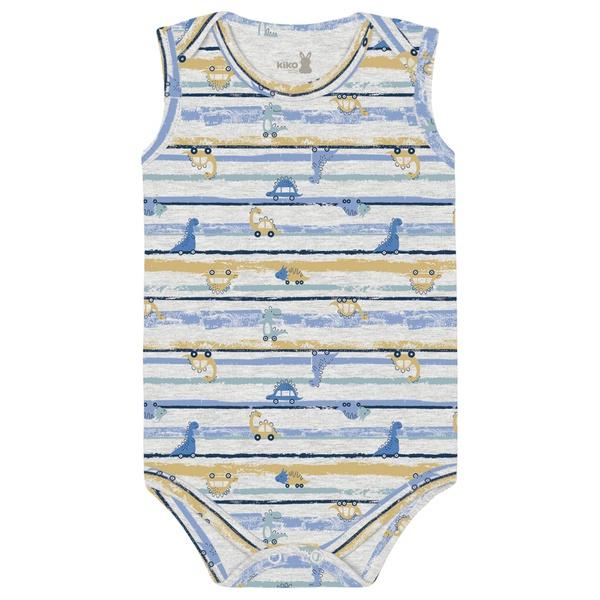 Body Kiko Baby Bebê Masculino RN ao G - Cinza Estampado