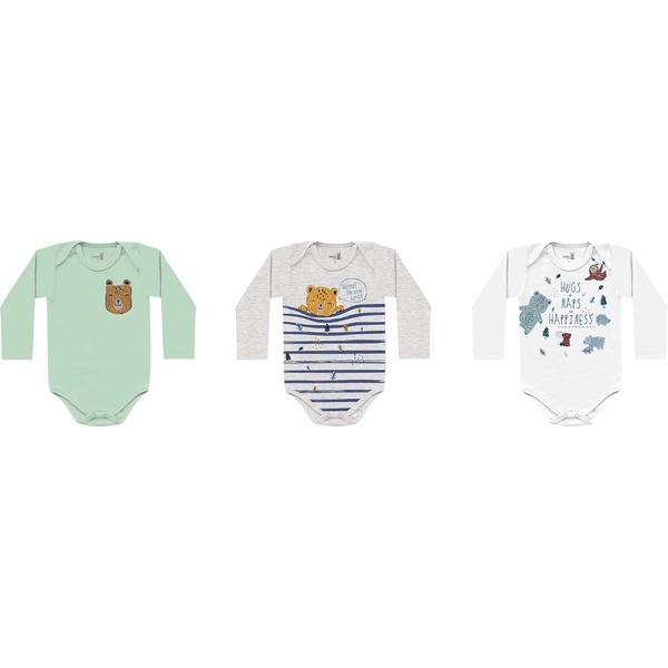 Kit 3 Bodys Manga Longa Kiko Baby Bebê Masculino Tamanho RN ao G