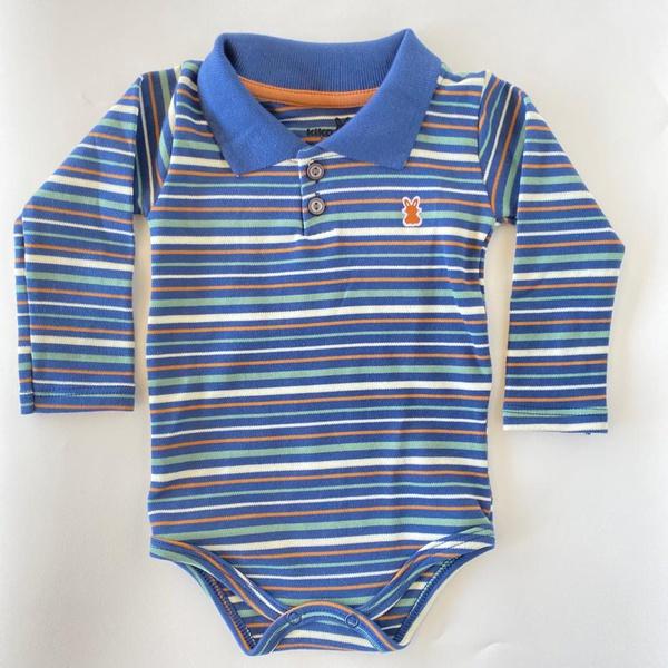 Body Manga Longa Gola Polo Kiko Baby Bebê Masculino Azul Claro Tamanho RN ao G