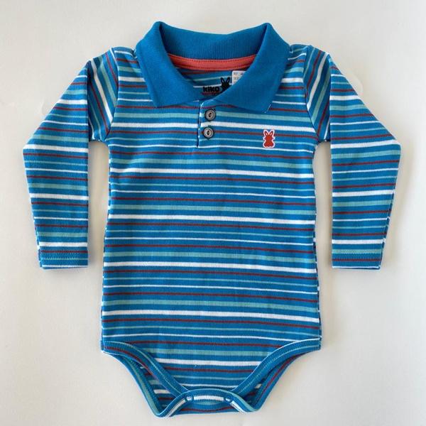 Body Manga Longa Gola Polo Kiko Baby Bebê Masculino Azul Petróleo Tamanho RN ao G