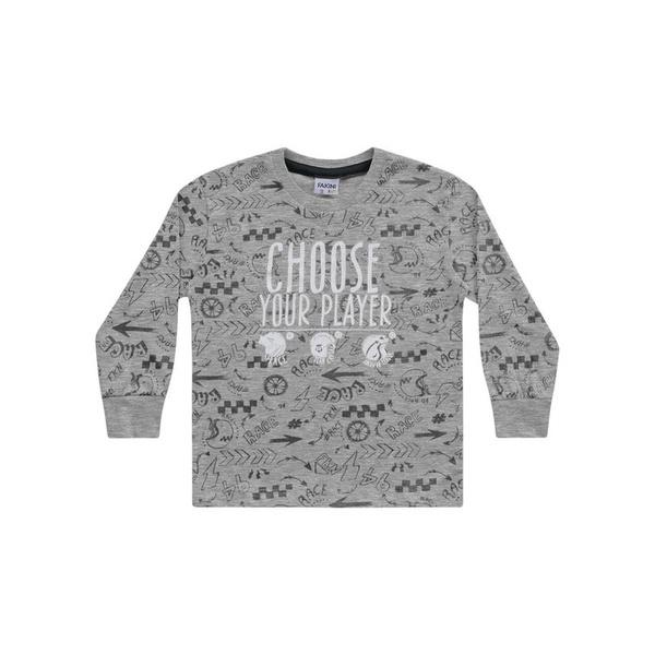 Camiseta Manga Longa Fakini Bebê Masculina Estampada Tamanho 1-2-3