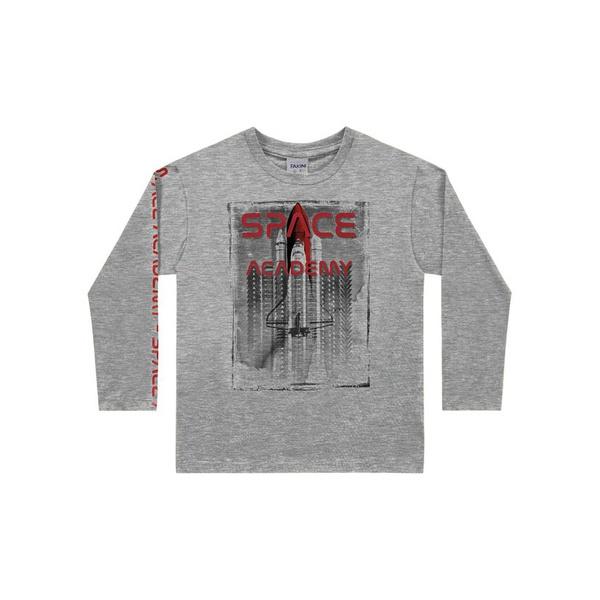 Camiseta Manga Longa Fakini Tamanho 4 ao 10 Cinza Mescla