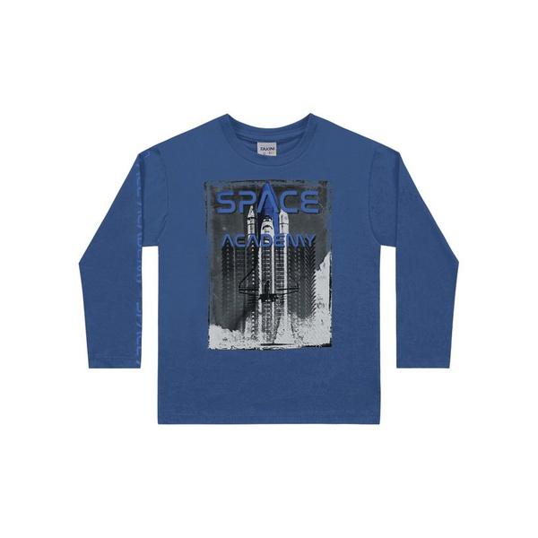 Camiseta Manga Longa Fakini Tamanho 4 ao 10 Azul