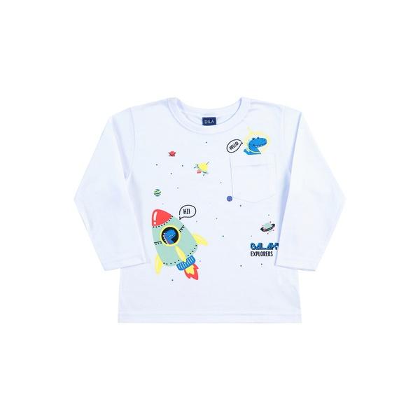 Camiseta Manga Longa Dila Bebê Masculina Dinossauro e Foguete Tamanho 1-2-3