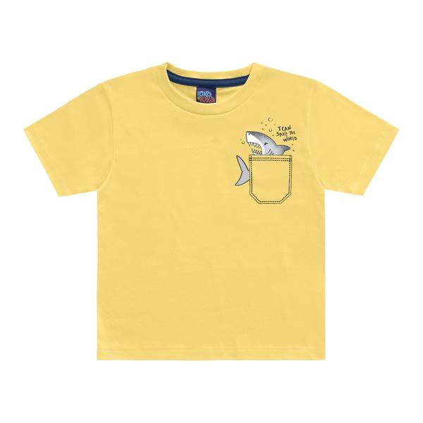 Camiseta Kiko e Kika Bebê Masculina 1-2-3 Amarela