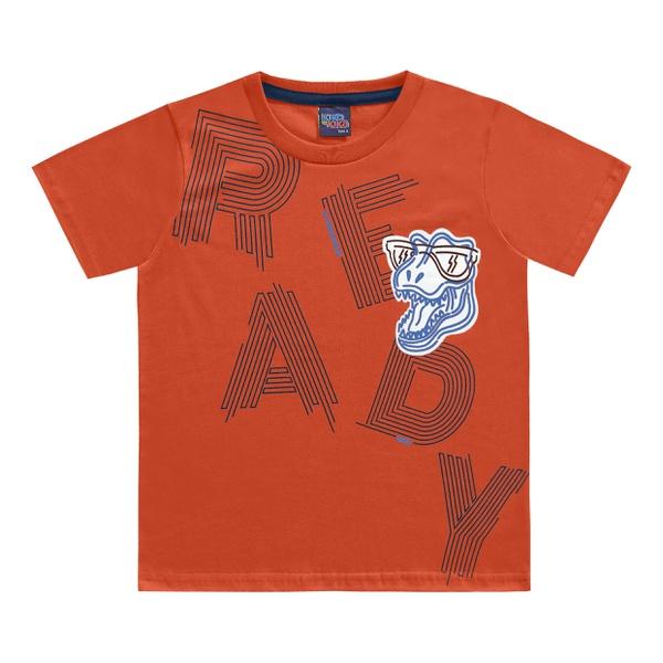 Camiseta Kiko e Kika Infantil Masculina 4 ao 10 - Laranja Dino