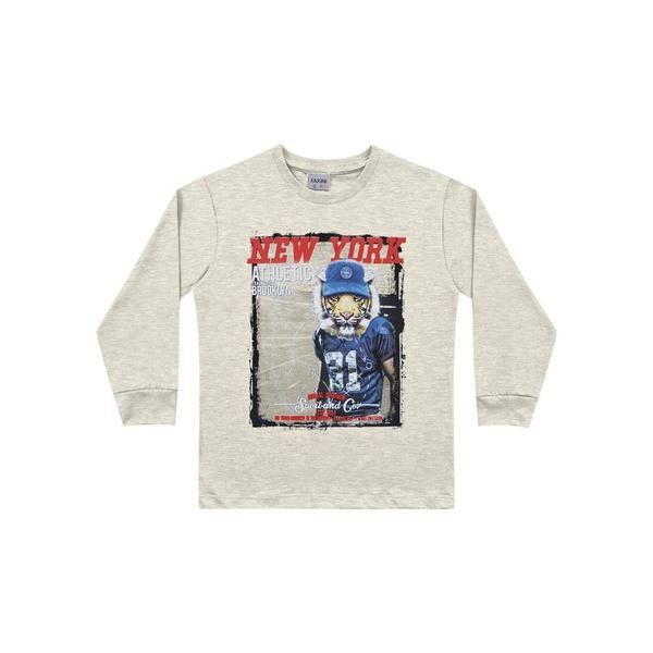 Camiseta Manga Longa Fakini Infantil Masculina Tamanho 4 ao 10 Cinza