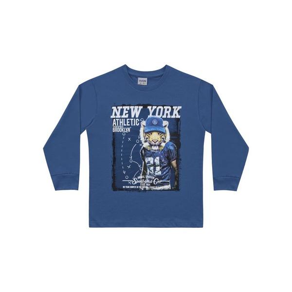 Camiseta Manga Longa Fakini Infantil Masculina Tamanho 4 ao 10 Azul