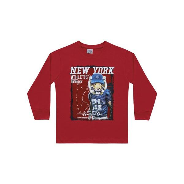 Camiseta Manga Longa Fakini Infantil Masculina Tamanho 4 ao 10 Vermelha