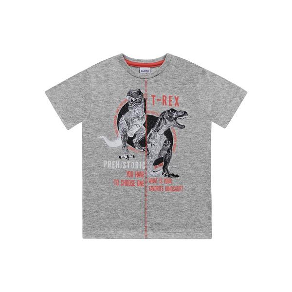 Camiseta Fakini Infantil Masculino T-Rex 4 ao 10 Cinza
