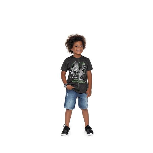 Camiseta Fakini Infantil Masculina T-Rex 4 ao 10 Cinza Escuro