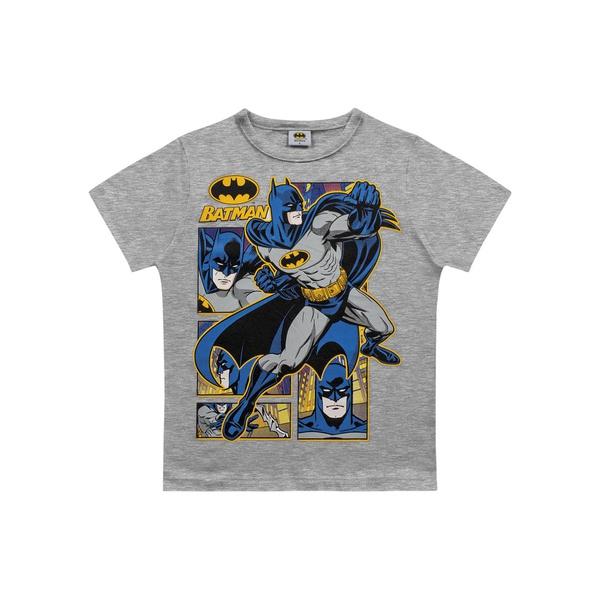 Camiseta Fakini Infantil Masculina 4 ao 10 Cinza Batman