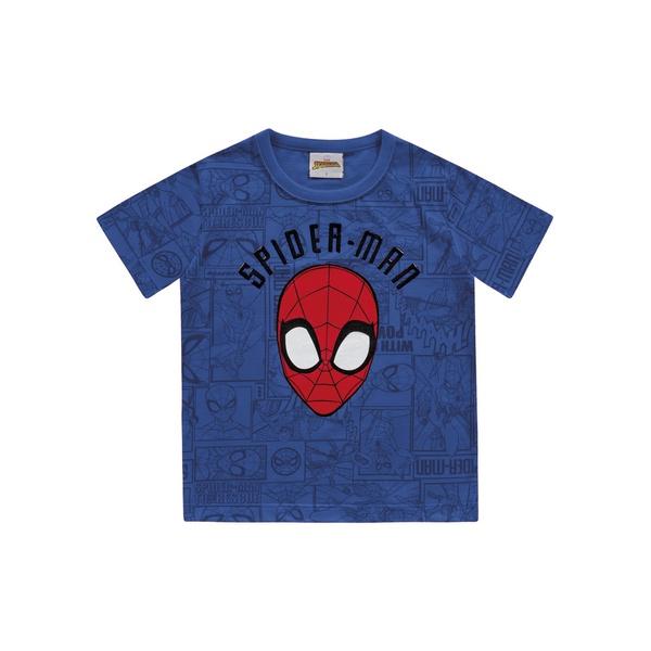Camiseta Fakini Bebê 1-2-3 Azul Homem Aranha