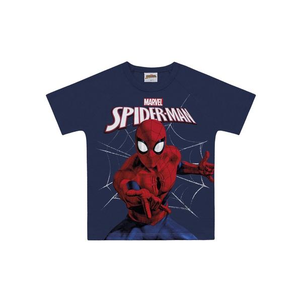 Camiseta Fakini Infantil Masculina 4 ao 10 Marinho Homem Aranha