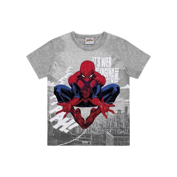 Camiseta Fakini Infantil Masculina 4 ao 10 Cinza Homem Aranha