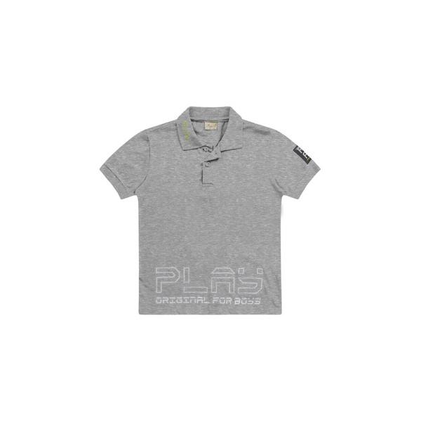 Camiseta Playground Gola Polo 4 ao 10 Cinza