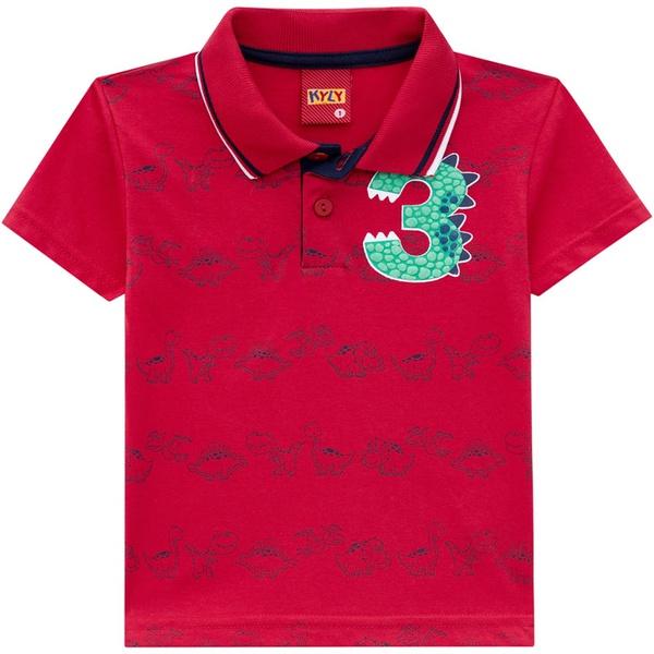 Camiseta Kyly Gola Polo Bebê Vermelha Estampa Dinossauro